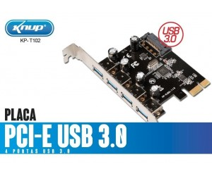 ( ATACADO ) Placa Pci-E Express Usb 3.0 4 Portas KP-T102.